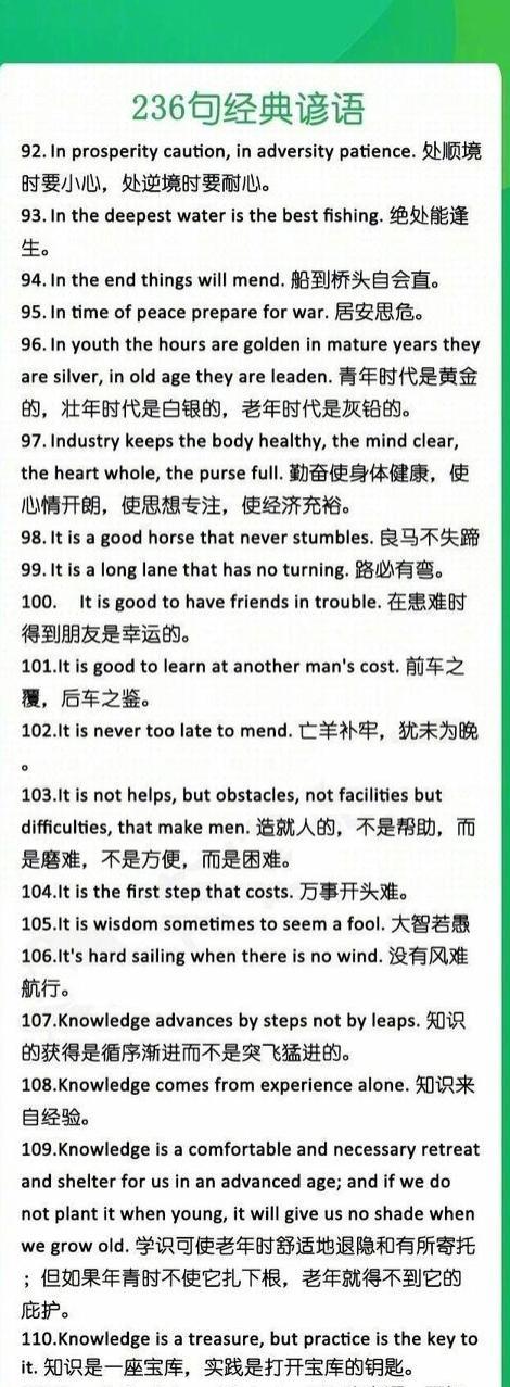 236句经典谚语英语表达