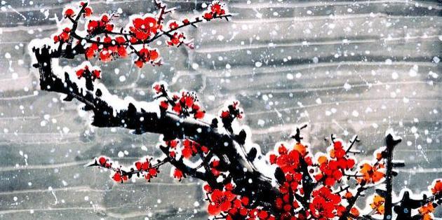 红梅一枝压山来 夕照湖面光飞蝶